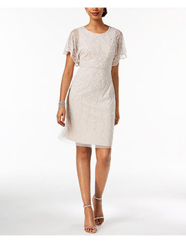 Beaded Flutter Sleeve Dress by Adrianna Papell