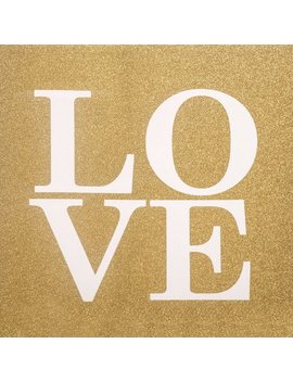 Gold Glitter Love Canvas Wall Art   20 X 20 In. by Unbranded