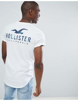 Hollister Front And Back Logo Print T Shirt Curved Hem In White by Hollister