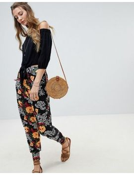 Asos Design Harem In Animal Floral Print by Asos Design