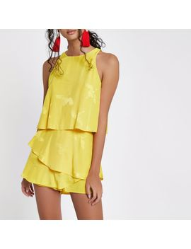 Yellow Tiered Frill Jacquard Romper by River Island