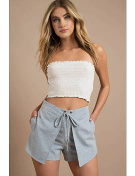 Lucca Couture Kylee Denim Overlay Lace Up Shorts by Tobi
