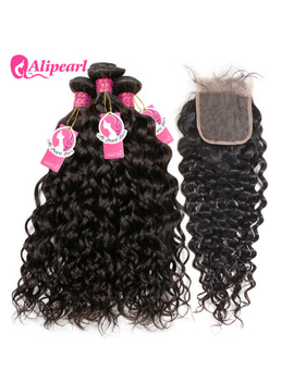 Alipearl Hair Water Wave Bundles With Closure Brazilian Remy Hair Weave Bundles With Closure Natural Black Color 4 Bundles Lots by Ali Pearl