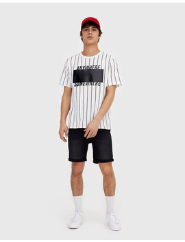 Black Skinny Denim Bermuda Shorts by Pull & Bear
