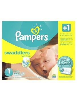 Pampers Swaddlers Disposable Diapers Newborn Size 1 (8 14 Lb), 222 Count, One Month Supply by Pampers