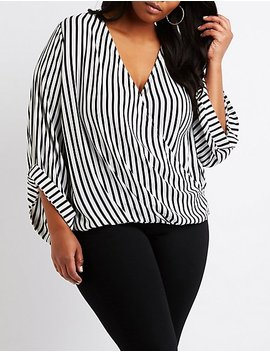 Plus Size Striped Wrap Top by Charlotte Russe