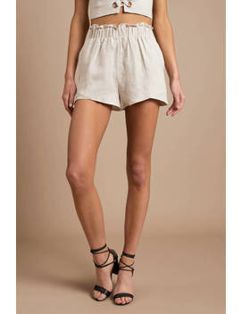 Lucca Couture Marley Beige High Waisted Paperbag Shorts by Tobi