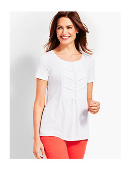 Woven Front Short Sleeve Top by Talbots