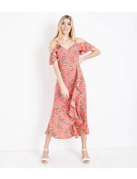 Robe Mi Longue Corail Fleurie à épaules Dénudées by New Look