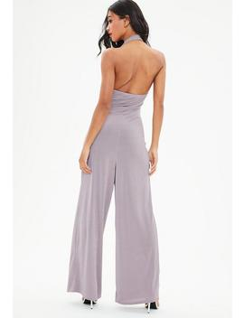 Lilac Knot Front Halter Wide Leg Jumpsuit by Missguided