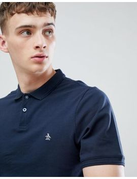 Original Penguin Raised Rib Pique Polo Slim Fit Small Logo In Navy by Original Penguin