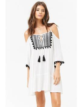 Sheer Tribal Inspired Open Shoulder Peasant Dress by F21 Contemporary