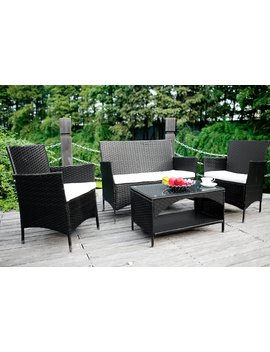 Merax 4 Piece Outdoor Pe Rattan Wicker Sofa And Chairs Set Rattan Patio Garden Furniture Set by Merax