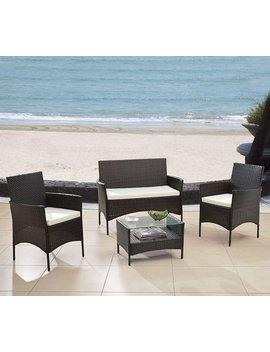 Modern Outdoor Garden, Patio 4 Piece Seat   Gray, Black Wicker Sofa Furniture Set (Espresso) by Divano Roma Furniture