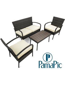 Pamapic Outdoor 4 Piece Patio Furniture Sets 【Ps Board Table】, Black Pe Rattan Wicker Sofa And Chairs Set With Coffee Table【Beige Cushion】 by Pamapic