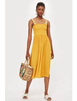 Shirred Trim Dress by Topshop