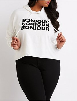 Plus Size Bonjour Cut Off Crop Hoodie by Charlotte Russe