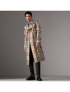 Laminated Check Cotton Trench Coat by Burberry