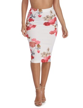 Ivory Watercolor Midi Skirt by Windsor