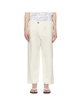Off White Washi Twill Trousers by Jan Jan Van Essche