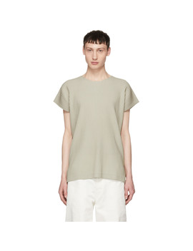 Beige Pleated T Shirt by Homme PlissÉ Issey Miyake