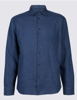 2in Longer Pure Linen Shirt With Pocket by Marks & Spencer
