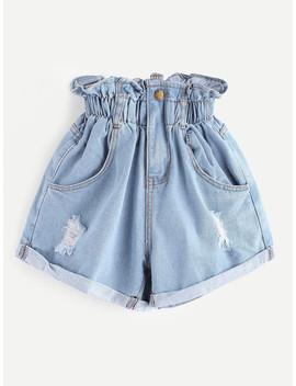 Elastic Waist Ripped Denim Skirt by Romwe