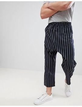 Asos Design   Pantalon Oversize Fuselé à Taille élastique   Rayures Bleu Marine by Asos Design