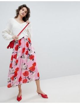 Gestuz Rose Printed Midi Skirt by Gestuz