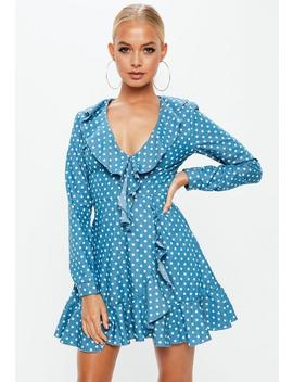 Blue Denim Polka Dot Wrap Around Tea Dress by Missguided