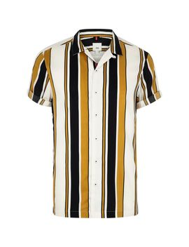 Big And Tall Yellow Stripe Print Revere Shirt by River Island