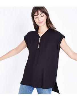 Tall– Schwarzes T Shirt Mit Reißverschluss Vorne by New Look