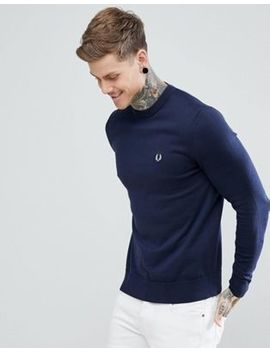 Fred Perry Crew Neck Cotton Jumper In Navy by Fred Perry