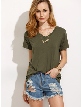 Army Green V Neck Short Sleeve T Shirt by Sheinside