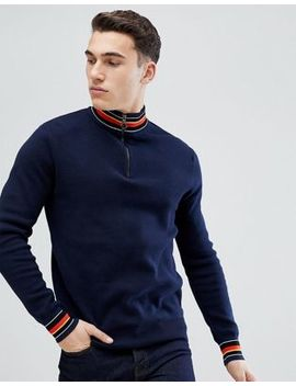 Stradivarius Half Zip Jumper In Navy by Stradivarius