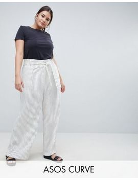 Asos White Curve Pinstriped Wide Leg Trousers by Asos White