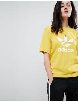 Adidas Originals – Adicolor – Gelbes Oversize T Shirt Mit Dreiblatt by Adidas