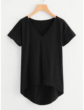 Solid Dip Hem T Shirt by Shein
