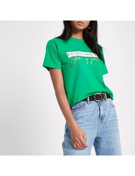 Green 'future Of Fashion' Cropped T Shirt                                  Green 'future Of Fashion' Cropped T Shirt by River Island
