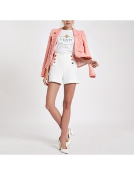 White Tweed Button Front Shorts                                  White Tweed Button Front Shorts by River Island
