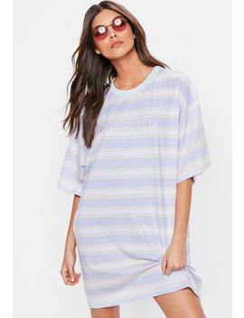 Pink Slogan Striped Oversized T Shirt Dress by Missguided