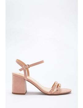 Faux Suede Studded Heels by Forever 21