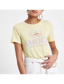 Yellow 'amour' Print Fitted T Shirt                                  Yellow 'amour' Print Fitted T Shirt by River Island