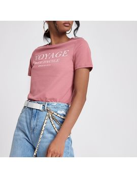 Pink 'voyage' Print Fitted T Shirt                                  Pink 'voyage' Print Fitted T Shirt by River Island