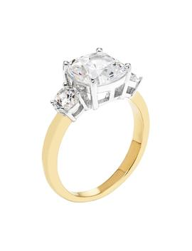 14k Gold Over Silver Lab Created White Sapphire 3 Stone Engagement Ring by Kohl's