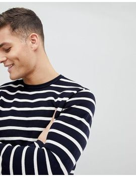 Mango Man Knitted Striped Jumper In Navy by Mango