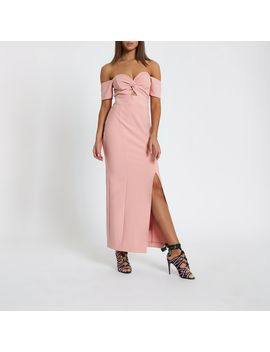 Pink Knot Front Bardot Maxi Dress by River Island