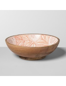 Mango Wood Painted Serving Bowl Lazarus Floral 33oz Orange   Opalhouse™ by Shop This Collection