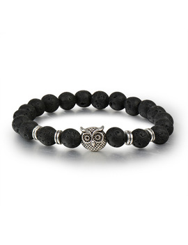 Meyfflin Vintage Silver Color Animal Owl Head Bracelet With Natural Black Lava Rock Stone Energy Men Beaded Bracelets For Women by Meyfflin