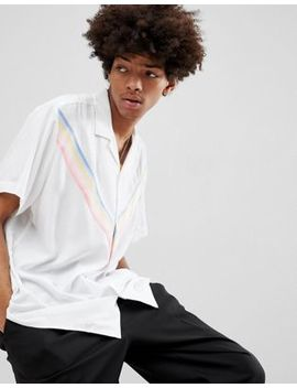 Asos Design Oversized Viscose Shirt With Rainbow Chevron Taping In White by Asos Design
